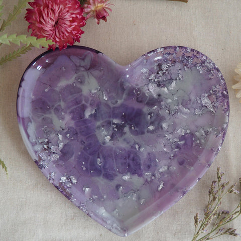 Dish - Heart - Purple / Silver