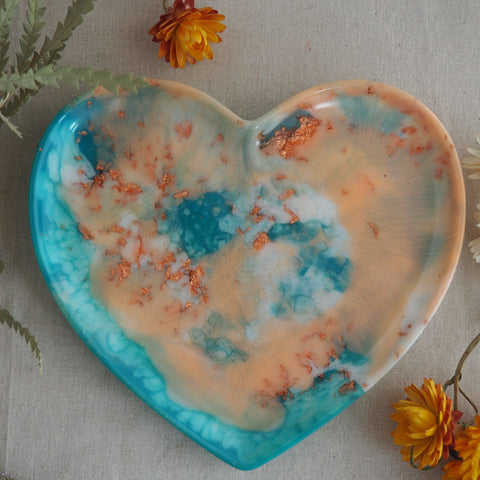 SALE Dish - Heart - Peach/Aqua