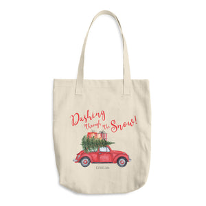 Dashing Through The Snow Cotton Tote Bag