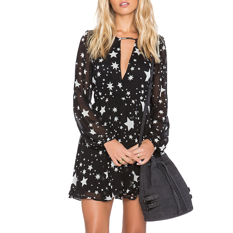 Solid Black Stars Printed Women's Dress