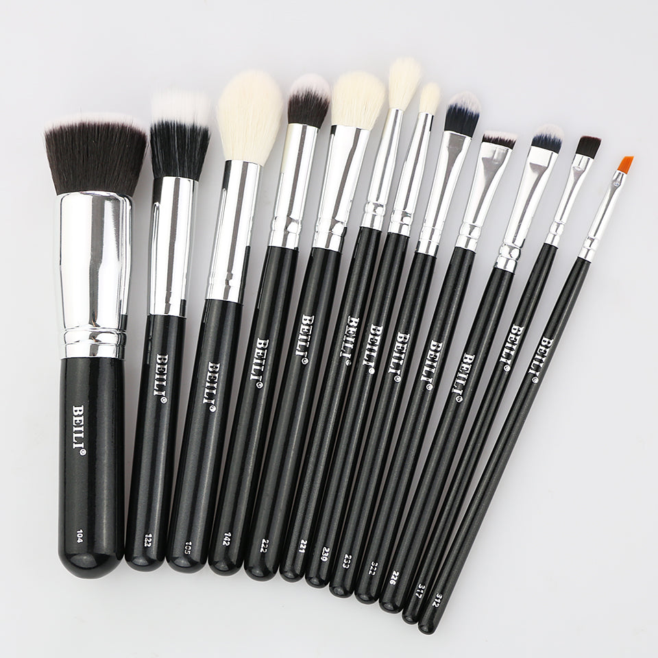 12 pieces Black Makeup Brush Set