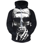 2018 3D Hoodies Men Casual Sweatshirt Smoking Skull