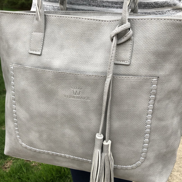 Braided Handle Tassel Tote