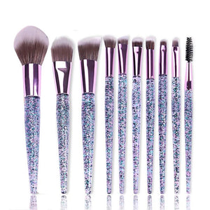 Purple Glitter Makeup Brush Set-Two Sweet Berries