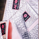 Silver Gator with Blush Zipper