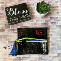 Makeup Junkie Black Gator with Lime Zipper-Two Sweet Berries