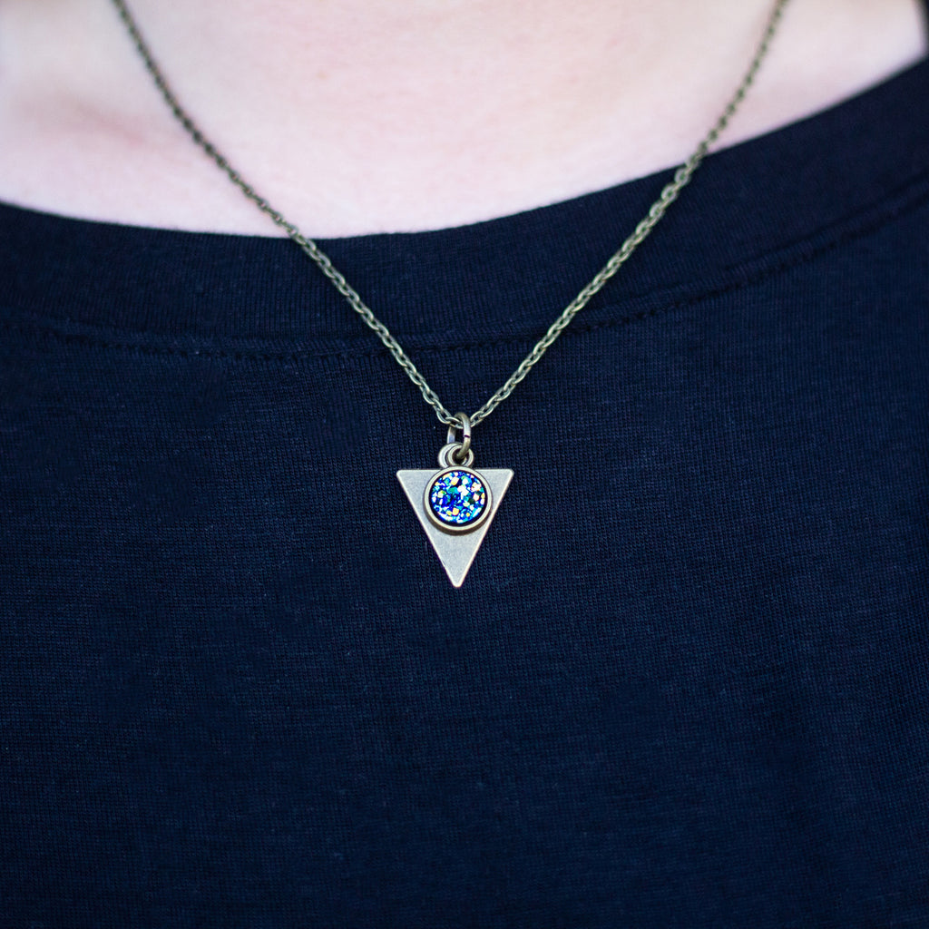 Dainty Triangle Druzy Necklace