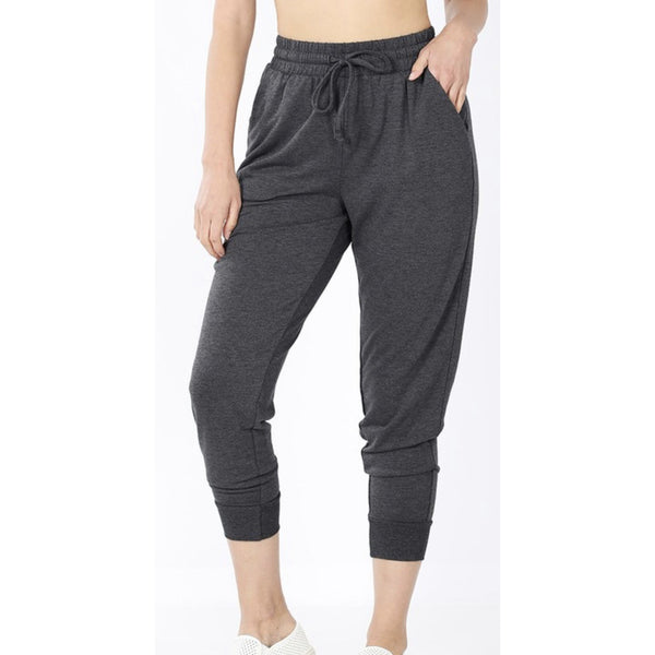 Happy Place Joggers-Charcoal