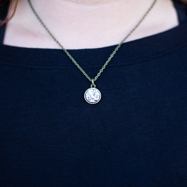 Dainty Circle Druzy Necklace