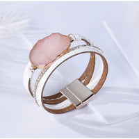 Multi Layered Crystal Stone Genuine Leather Bracelet