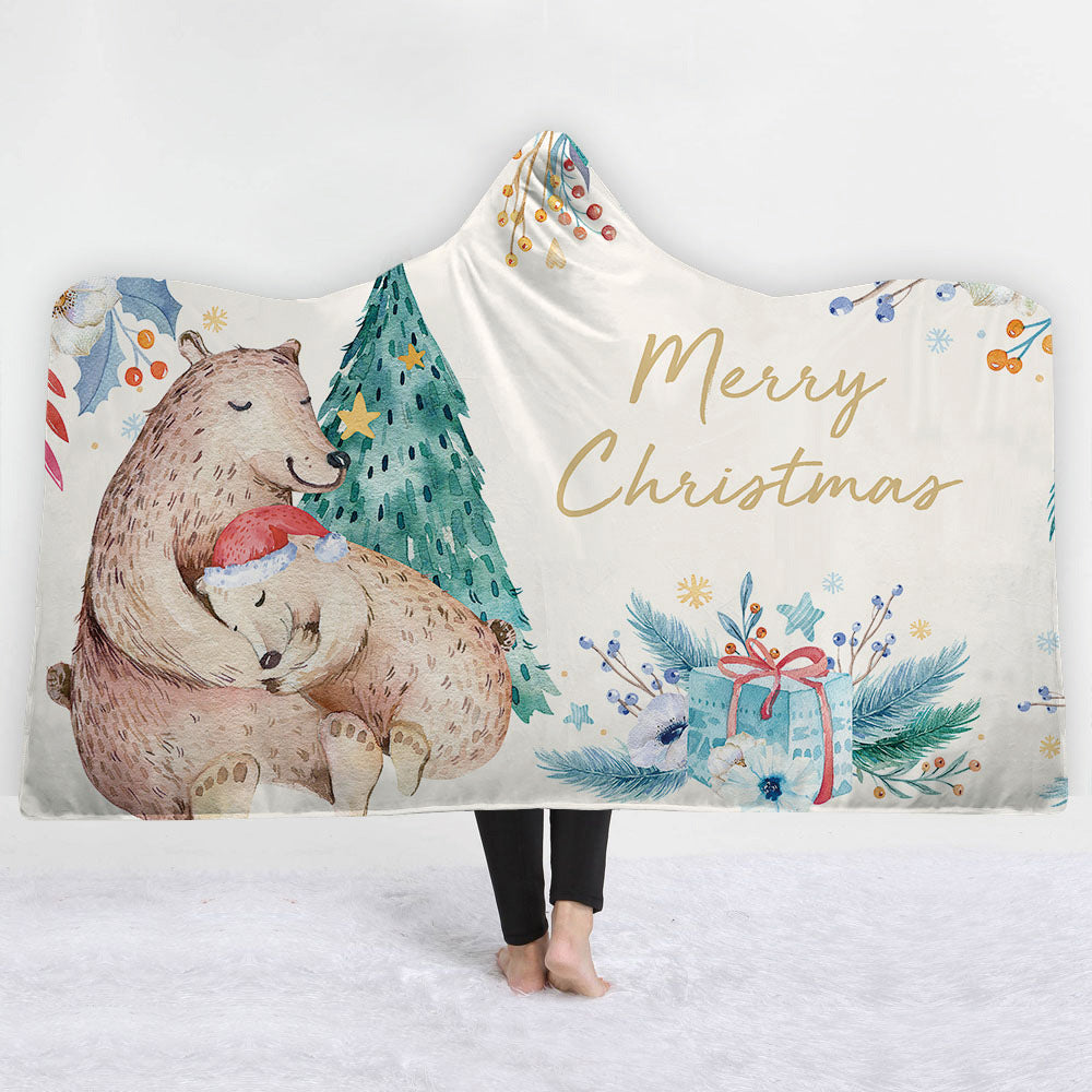 Christmas Sherpa Fleece Hooded Blanket