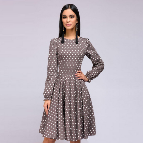 Polka Dot Long Sleeve Casual Slim Dress