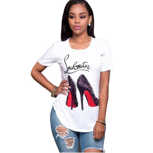 High-heeled Shoes street T-Shirt Style