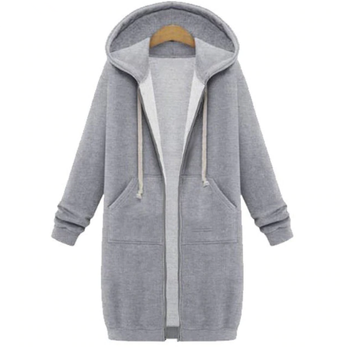 Hooded long-sleeved winter sweater women's jacket in a long thick shirt