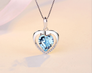 Sterling Silver Blue Heart Crystal Pendant Necklace