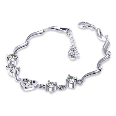 Heart-shaped crystal zircon bracelet