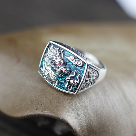 Ethnic  Pure 925 Sterling Silver Dragon Ring