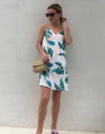 USA SIZE European and American V-neck sling dress fashion print holiday beach A-line skirt
