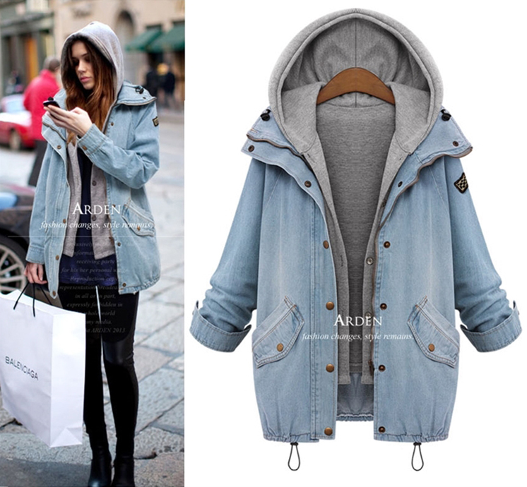 Women's loose loose hooded denim jacket
