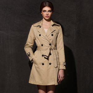 2018 New European and American slim waist double-breasted trench coat