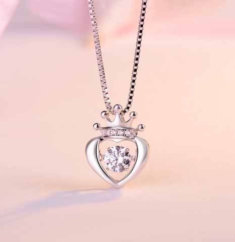 S925 sterling silver crown Queen's heart necklace