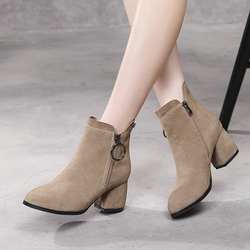 Chunky heels leather ladies Boots