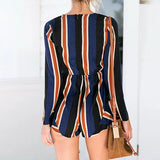 Casual Vacation Wind Stripe Jumpsuit