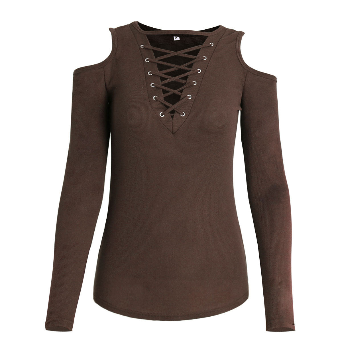 Strapless Cross Lacing long sleeved T-shirt