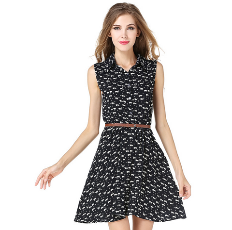 USA SIZE Women's shirt dress cat print slim dress shirt skirt send belt