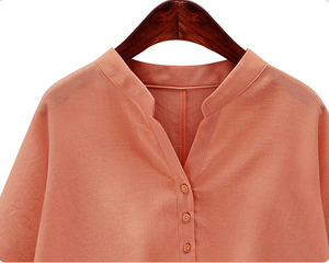 Cotton Stand Collar Blouse