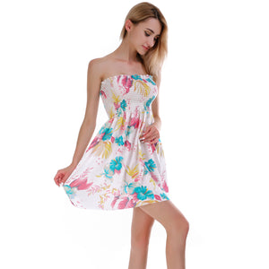 Fashion elastic pleated beach dress
