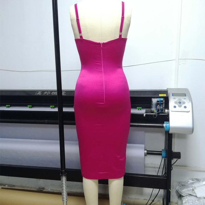 Hot Pink, Blue Sexy Bodycon Dress