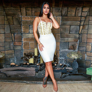 Gold Sexy Lace up Celebrity Party Dress