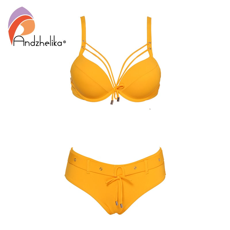 Solid Bikini Set Swimsuit 2019