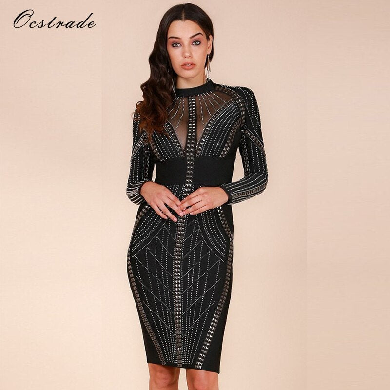 Studded Merry Christmas Party Dress
