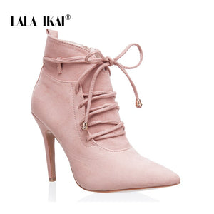 Ankle Boots High Heels Short Plush Pointed