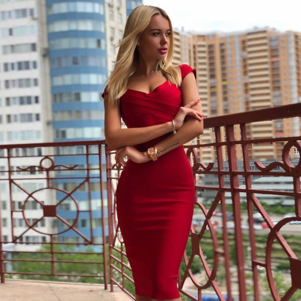 2019 Party  Red Bandage Dress