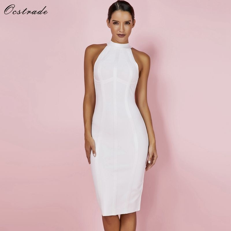 Striped White Bandage Dress