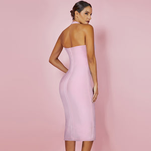 Backless Dress Pink Halter Midi