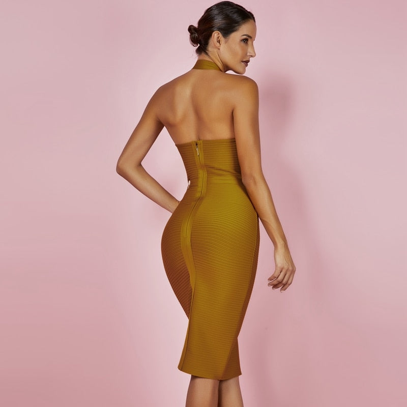 Halter Party Yellow Bandage Dress