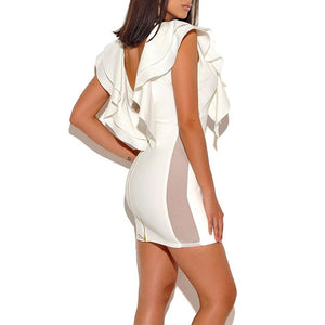 Celebrity Mini Rippled Edge Evening Bodycon Dress