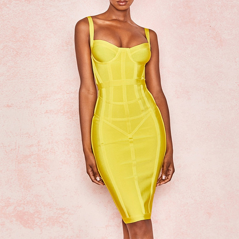Vestidos 2019 Striped Neon Yellow Dress