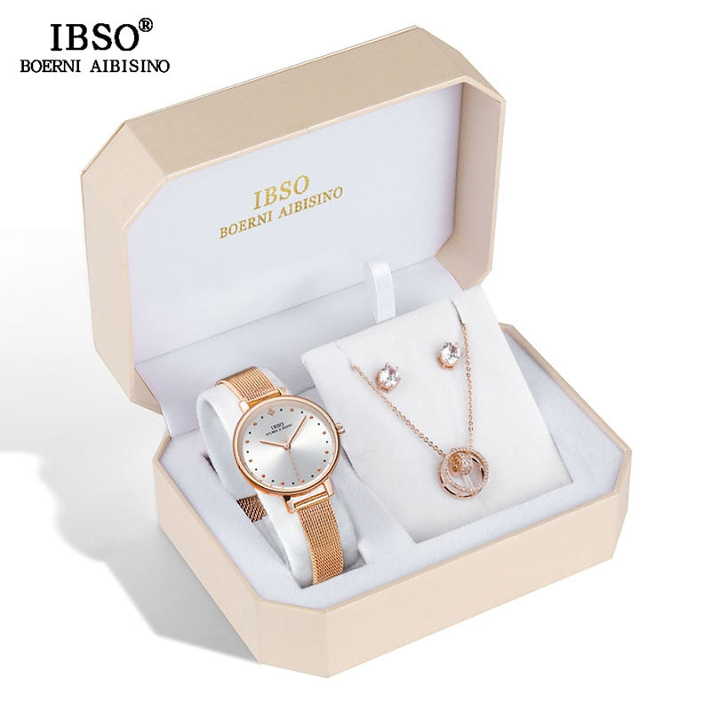 Rose Gold Watch Earring Necklace Set