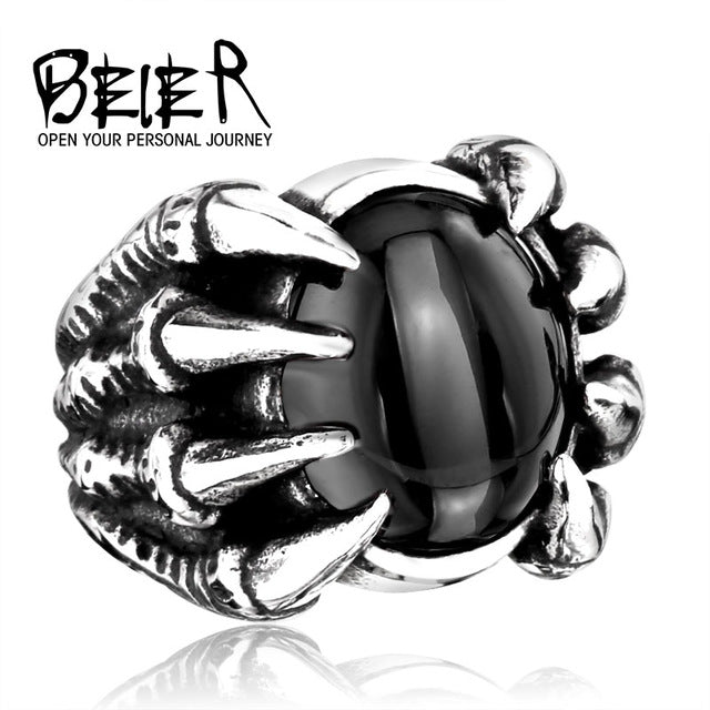 Silver Dragon Claw Steel Ring
