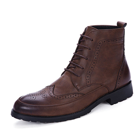 Mens Leather Oxford Boots-British Style