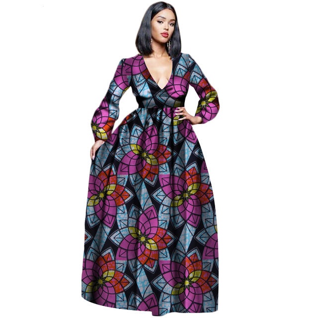 Wax Cotton African full sleeve Dress