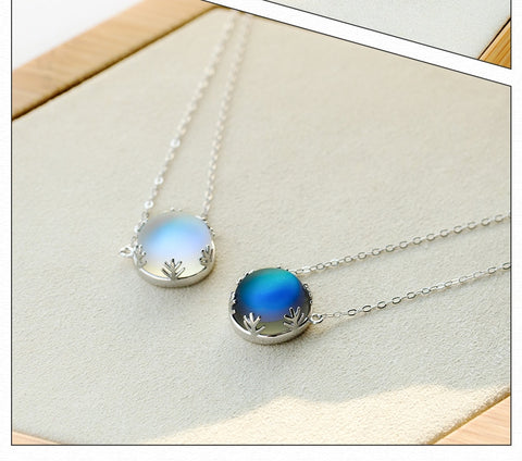 Halo Gemstone 55cm Aurora Pure Sterling Silver Necklace