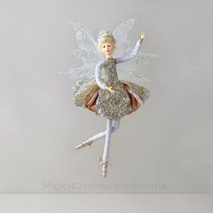 Golden Christmas Fairy Ballerina Ornament