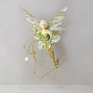 Golden Christmas Flower Fairy Decoration