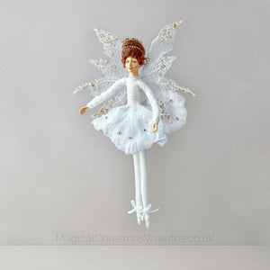 White Christmas Fairy Ballerina Doll Tree Decoration